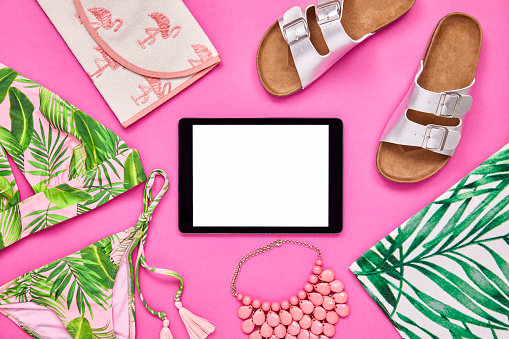 Bikini Top「Overhead shot of tablet computer surrounded with summer vacation accessories」:スマホ壁紙(12)