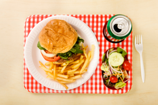 Fast Food French Fries「Overhead shot of picnic lunch」:スマホ壁紙(19)