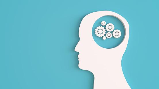 Neuroscience「Artificial Intelligence concept human head on blue background」:スマホ壁紙(8)