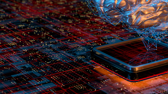 Neuroscience「Artificial Intelligence concept brain with CPU」:スマホ壁紙(7)