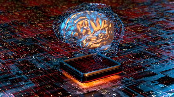 Neuroscience「Artificial Intelligence concept brain with CPU」:スマホ壁紙(6)