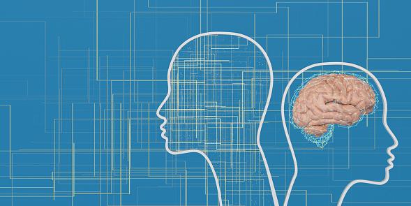 Neuroscience「Artificial Intelligence head shape digital concept」:スマホ壁紙(12)