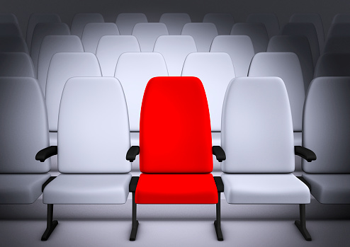 Auditorium「White Theatre style seating with middle chair in red」:スマホ壁紙(14)