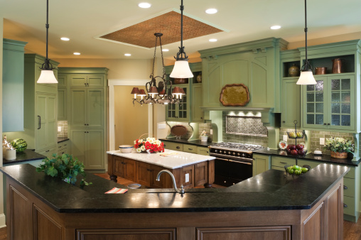Ceiling「Country style custom kitchen in residential home.」:スマホ壁紙(1)
