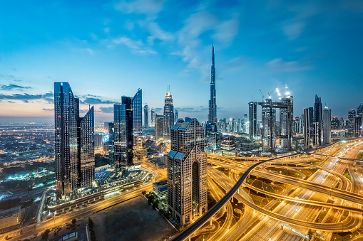 Sheikh Zayed Road「City lights in Dubai; United Arab Emirates」:スマホ壁紙(4)