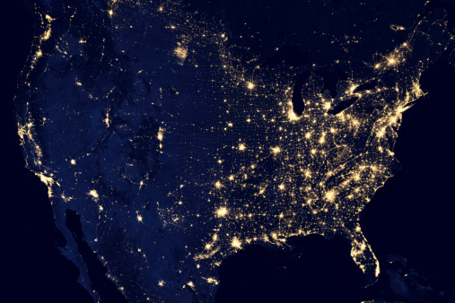 Planet Earth「City lights of the United States at night.」:スマホ壁紙(16)