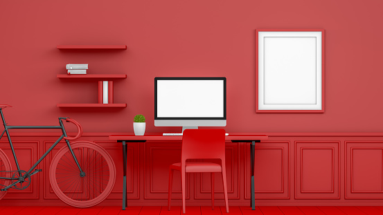 Three Dimensional「3D Abstract Workplace with Blank Screen Monitor in modern interior, Christmas Concept, Red Background」:スマホ壁紙(19)