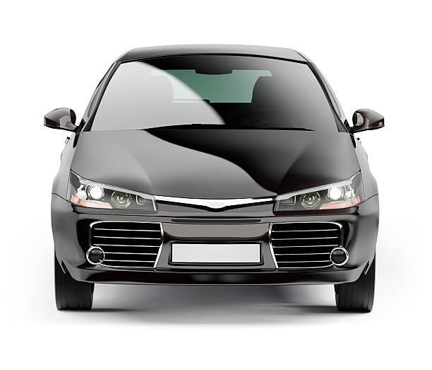 Front of a modern black compact car isolated on white:スマホ壁紙(壁紙.com)