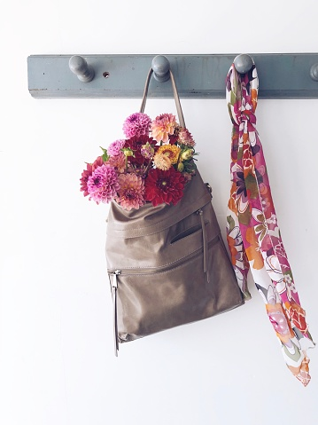 Rack「Dahlia flowers in a bag hanging on a coat rack with a scarf」:スマホ壁紙(7)