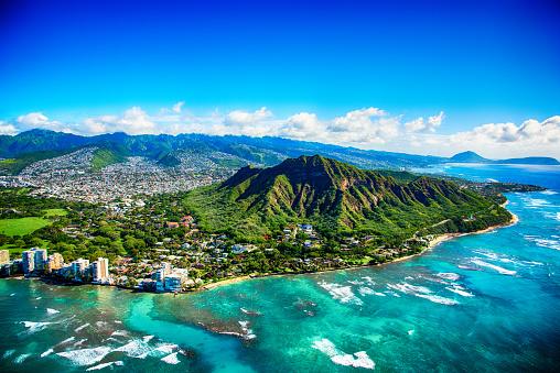 Oahu「Diamond Head State Park Aerial」:スマホ壁紙(2)