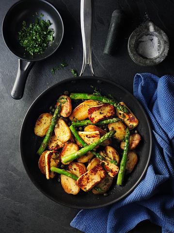 Asparagus「halloumi cheese,crispy capers with new potatoes」:スマホ壁紙(7)