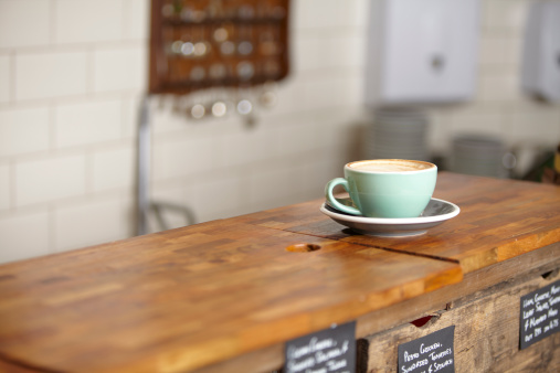 Coffee「Cup of coffee in a mint green mug.」:スマホ壁紙(6)