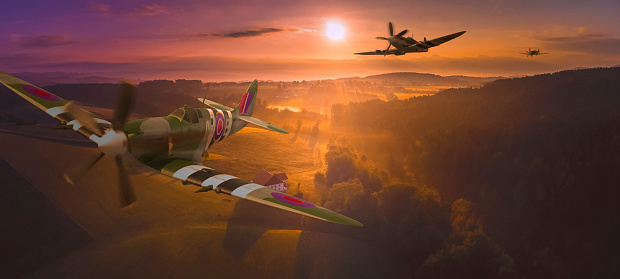 RAF「A squadron of Spitfires flying low over British Countryside, composite image」:スマホ壁紙(13)