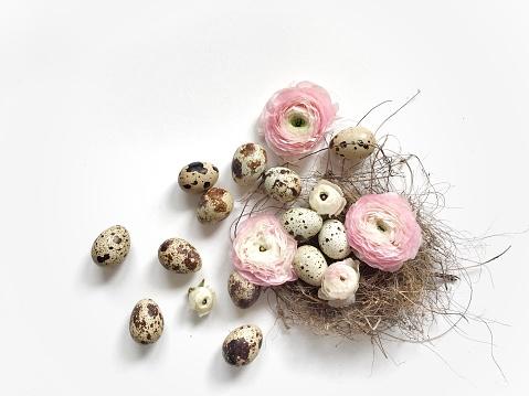 イースター「Quail eggs in a birds nest with ranunculi  flowers」:スマホ壁紙(9)