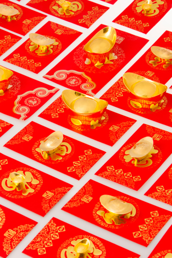Better fortune「Chinese traditional currency gold yuanbao ingots and red pockets for Chinese New Year」:スマホ壁紙(10)