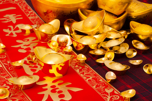 Better fortune「Chinese traditional currency gold yuanbao ingots and couplets for Chinese New Year」:スマホ壁紙(7)