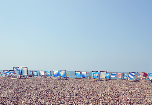 Deck Chair「Deckchairs in a row on Brighton Beach, UK」:スマホ壁紙(7)