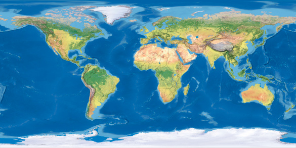 Atlantic Ocean「world Topographic Map,National Border」:スマホ壁紙(17)