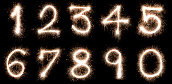 Number 9「Numbers written with a sparkler」:スマホ壁紙(15)