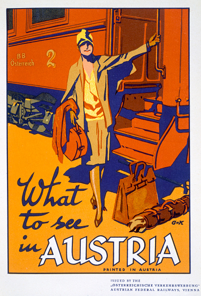 Railroad Car「What To See In Austria' Travel Poster circa 1920s」:写真・画像(1)[壁紙.com]