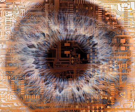 Iris - Eye「Human eye embedded in computer circuitry」:スマホ壁紙(16)