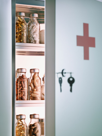 Cross Shape「Cabinet with pill bottles next to hanging keys 」:スマホ壁紙(16)
