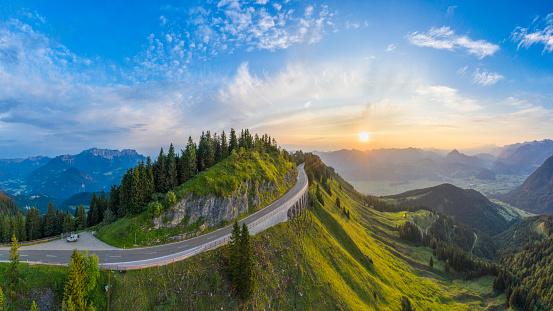 Steep「Aerial panorama of Rossfeld mountain panoramic road, Berchtesgaden, Germany」:スマホ壁紙(10)
