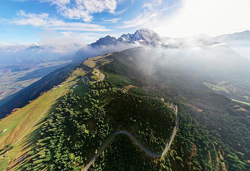 Steep「Aerial panorama of Rossfeld mountain panoramic road, Berchtesgaden, Germany」:スマホ壁紙(12)