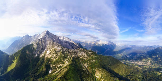 Aerial panorama of Berchtesgaden with Hitler's Eagle Nest, Mount Hoher Göll and Mount Kehlstein:スマホ壁紙(壁紙.com)