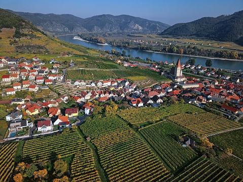 UNESCO「Aerial panorama of Weisenkirchen in der Wachau town and vineyards at autumn. Wachau valley, Austria」:スマホ壁紙(5)