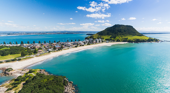 North Island New Zealand「Aerial Panoramic view of Mt Maunganui coastline.」:スマホ壁紙(13)