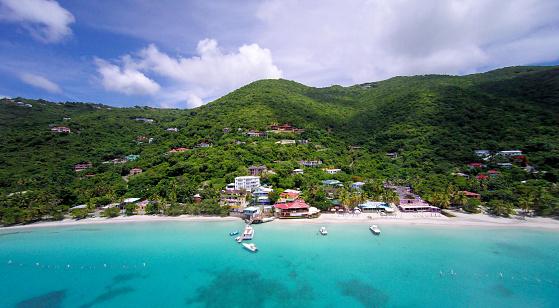 British Virgin Islands「aerial panoramic view of Cane Garden Bay, Tortola, BVI」:スマホ壁紙(8)