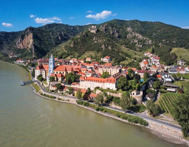 Aerial panorama of Durnstein town. Wachau valley, Austria:スマホ壁紙(壁紙.com)