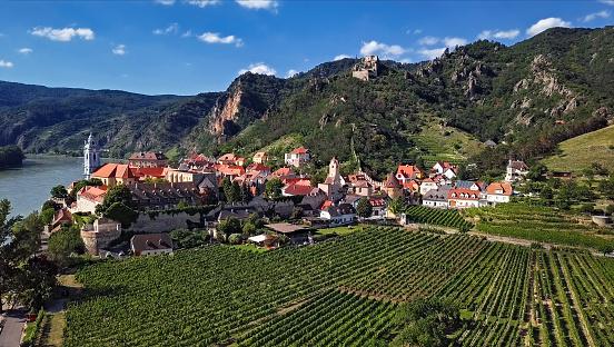 Abbey - Monastery「Aerial panorama of Durnstein town. Wachau valley, Austria」:スマホ壁紙(3)
