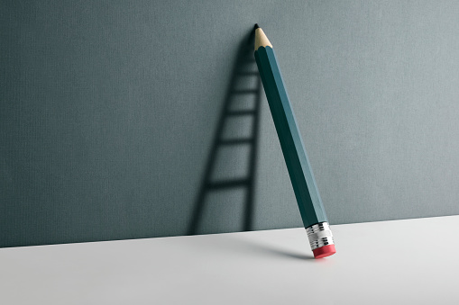Chalk - Art Equipment「A pencil leaning against the wall. Ladder shade reflect on the wall.」:スマホ壁紙(15)
