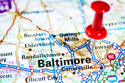 Maryland - US State「US cities on map series: Baltimore, Maryland」:スマホ壁紙(3)