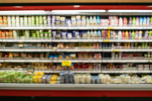 Refrigerated Section「Blurry image of dairy products in the refrigerated section of the supermarket」:スマホ壁紙(15)