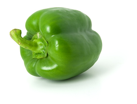 Green Bell Pepper「One green bell pepper isolated on a plain white background」:スマホ壁紙(7)