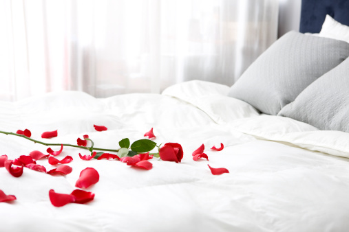 Valentine's Day「Bedroom with Single Rose and Petals on Bed, Copy Space」:スマホ壁紙(9)