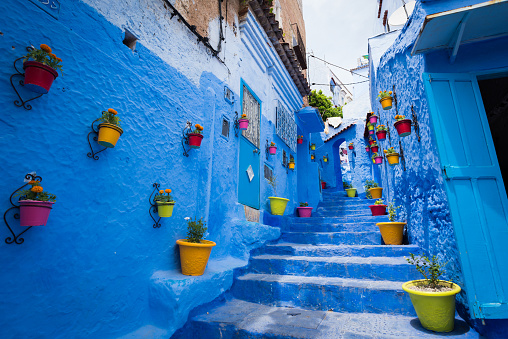Vibrant Color「Alleyway in Chefchaouen, Morocoo」:スマホ壁紙(16)