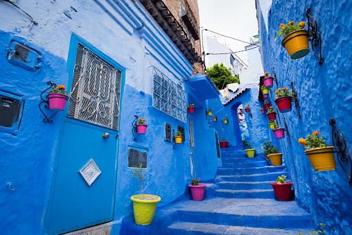 Morocco「Alleyway in Chefchaouen, Morocoo」:スマホ壁紙(7)
