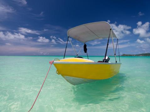French Overseas Territory「Yellow Motor Boat in Turquoise Lagoon」:スマホ壁紙(17)