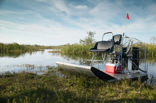 Stream - Flowing Water「Air boat on bank of creek」:スマホ壁紙(6)