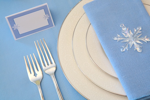 Place Setting「Holiday: Winter Table Setting Series in white and blue」:スマホ壁紙(12)