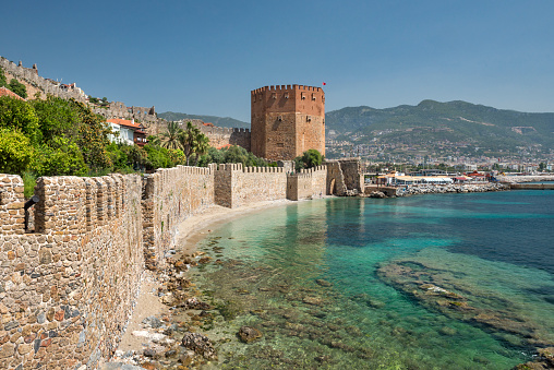 Antalya Province「Red tower and old walls of the Alanya fortress, Antalya Turkey」:スマホ壁紙(16)