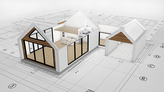 Housing Project「Blueprints with a 3D render of a beautiful two story house on top」:スマホ壁紙(10)