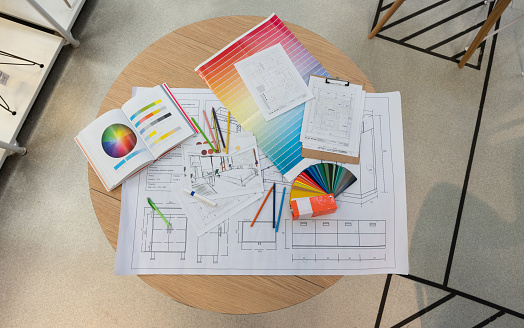Housing Project「Blueprints, sketches, color swatches, pencil colors and designs on table」:スマホ壁紙(1)
