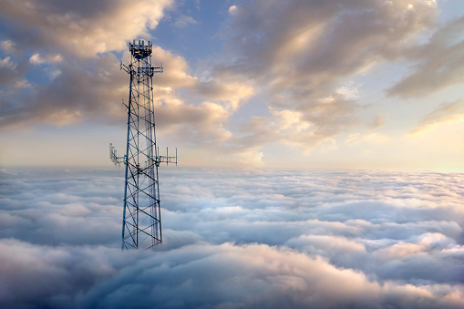Digital Composite「Cellular tower above clouds」:スマホ壁紙(6)
