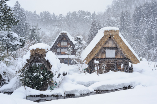 吹雪「The historic village of Shirakawa-go in winter」:スマホ壁紙(11)