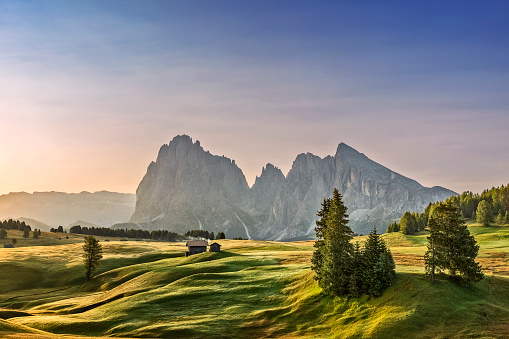Hiking「Alpe di Siusi sunrise with Sassolungo or Langkofel Mountain Group in Background」:スマホ壁紙(5)
